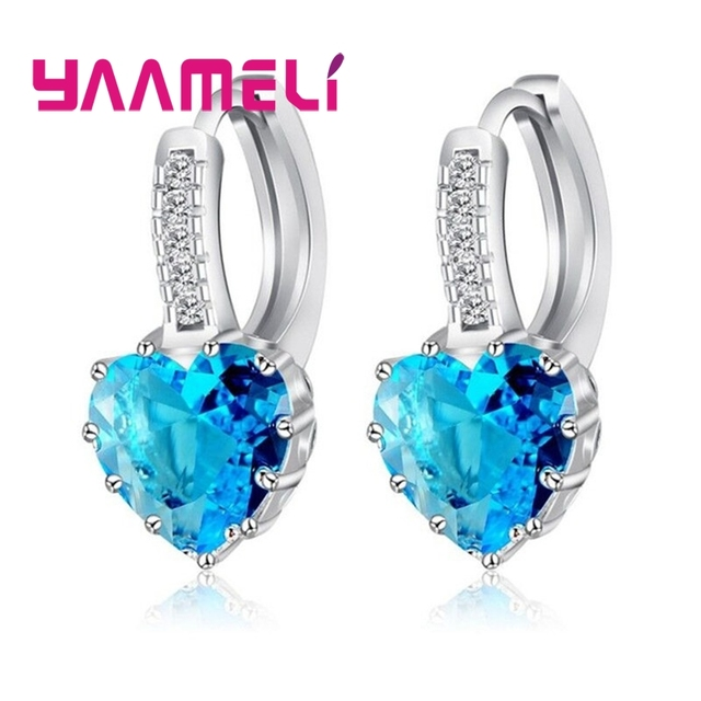 YAAMELI, лидер продаж 2018 года, женские роскошные серьги-гвоздики с кристаллами и цирконием в форме сердца для женщин, 925 серебряные геометрические серьги Bijoux