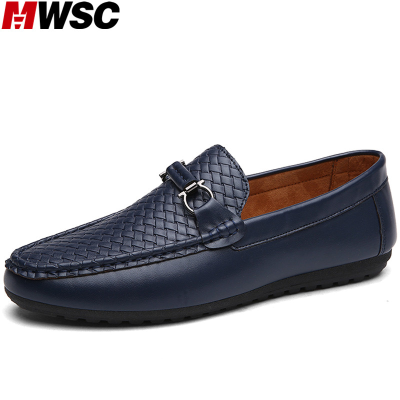 MWSC Chaussure Homme Designer Man Driving Shoes Male Leisure Lazy Loafers Fashion Plaid Casual Shoes Slip