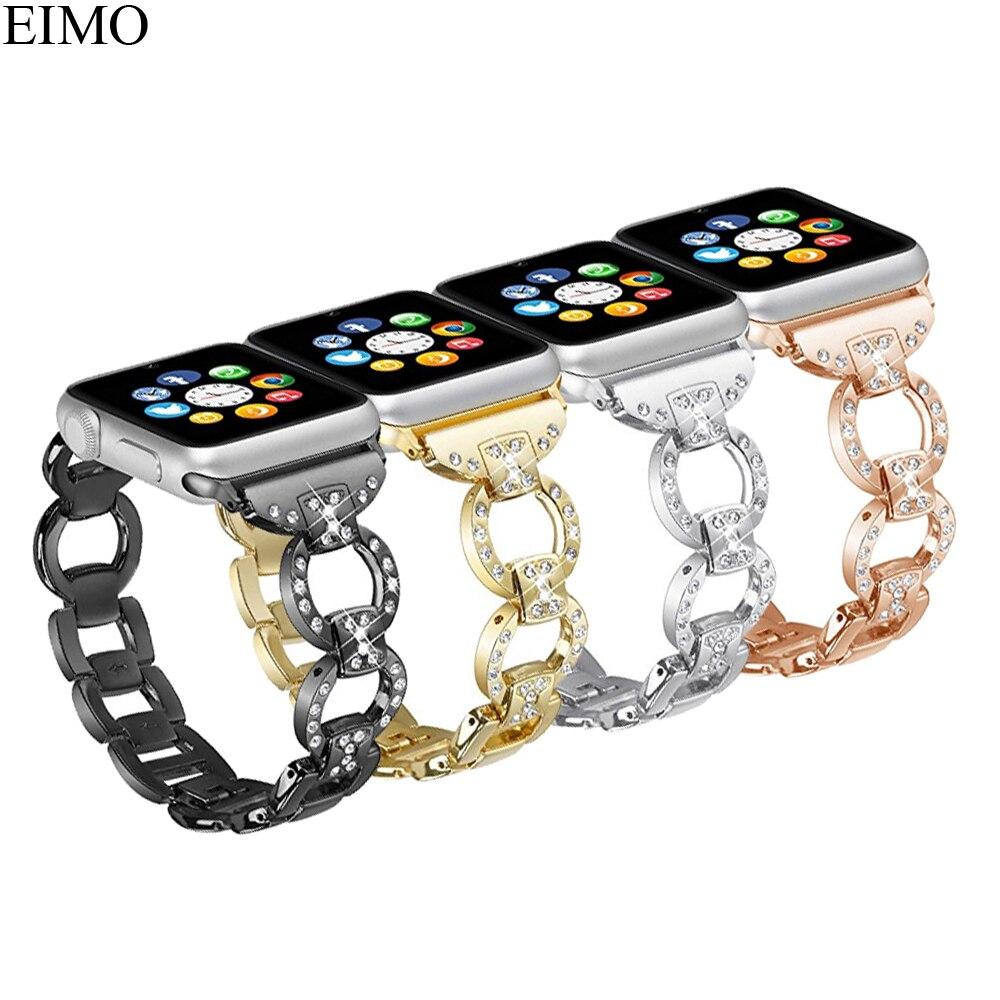 EIMO Bracelet En Acier Inoxydable Pour Apple Montre Bande 42mm/38mm iwatch 3/2/1 diamant métal Lien Bracelet poignet Ceinture Bracelet noir