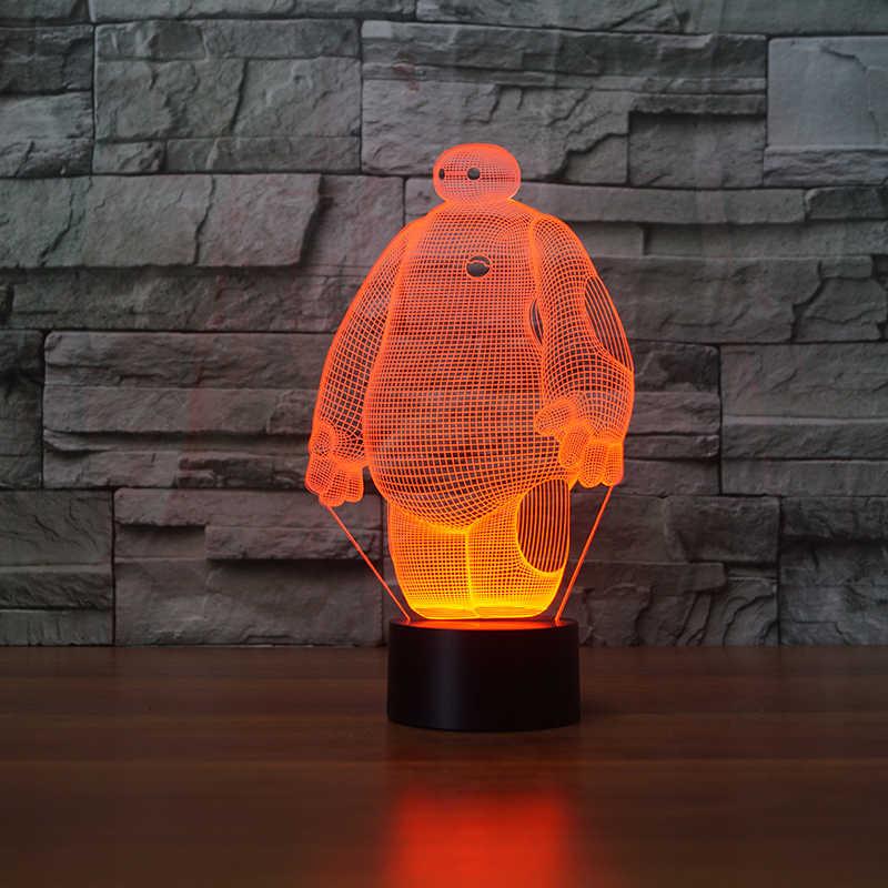 Baymax 3D лампа 7 цветов светодиодный ночник для детей сенсорный светодиодный USB Настольный Lampara лампе Детские спальные Ночник свет движения сенсор