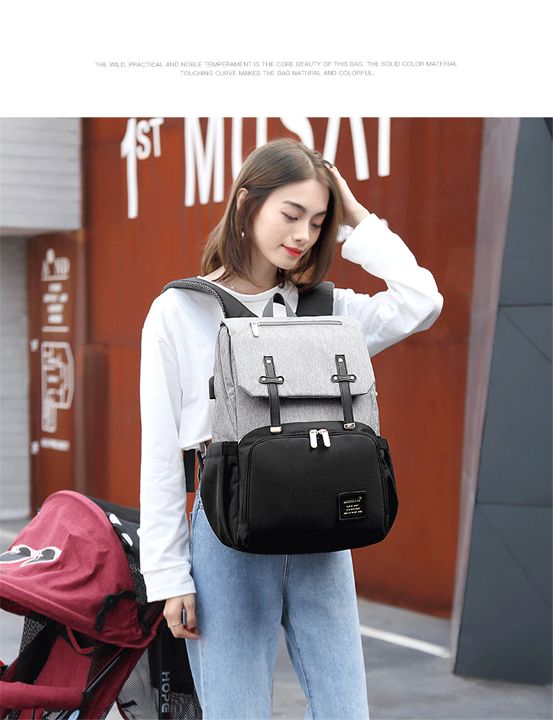 New Fashion Women Backpack With USB Mummy Daddy Outdoor Travel Diaper Bags Pure Large Waterproof Nursing Bag Baby Care Nappy Bag