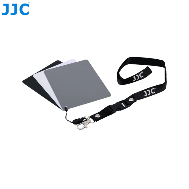 JJC Camera White Balance Accurate 3 in 1Color Balancing Tool With Neck Strap 130x100x24mm Digital Grey Card for Canon/Nikon/Sony