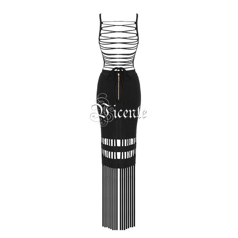 Élégant Gros Chaude Embelli Back En Creux Nouveau Maxi 2019 up Sexy Noir Robe Glands Chic Vicente Longue Dentelle Out Celebrity Bandage d6wIYqI