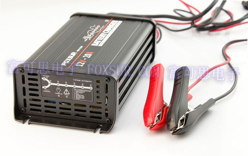 Image 2 - FOXSUR original 12V 20A 7 stage smart Lead Acid Battery Charger 12V Car battery charger MCU Maintainer Charger Aluminum case-in Chargers from Consumer Electronics
