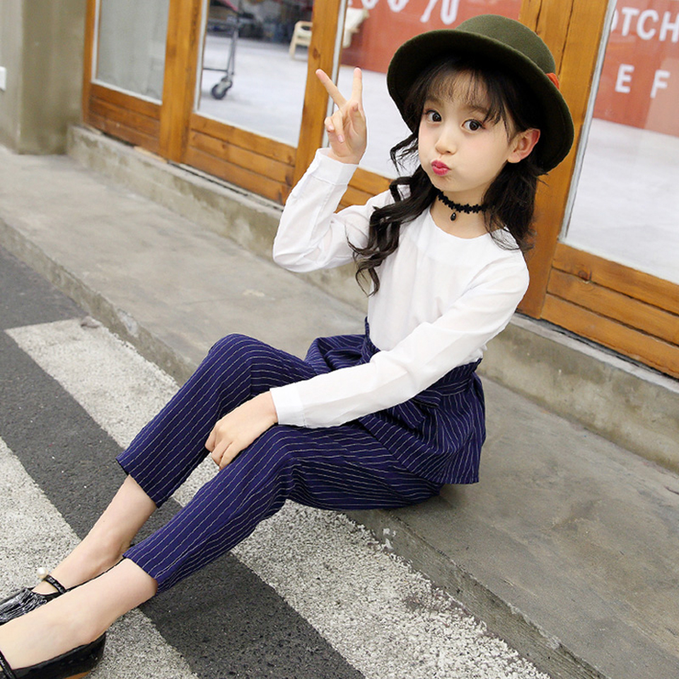 Fashion Girls Clothes Bow T-Shirt + Stripe Pants 2 PCS Girl School Clothes Autumn Winter Teenage Kids Set 6 8 10 12 13 14 Year