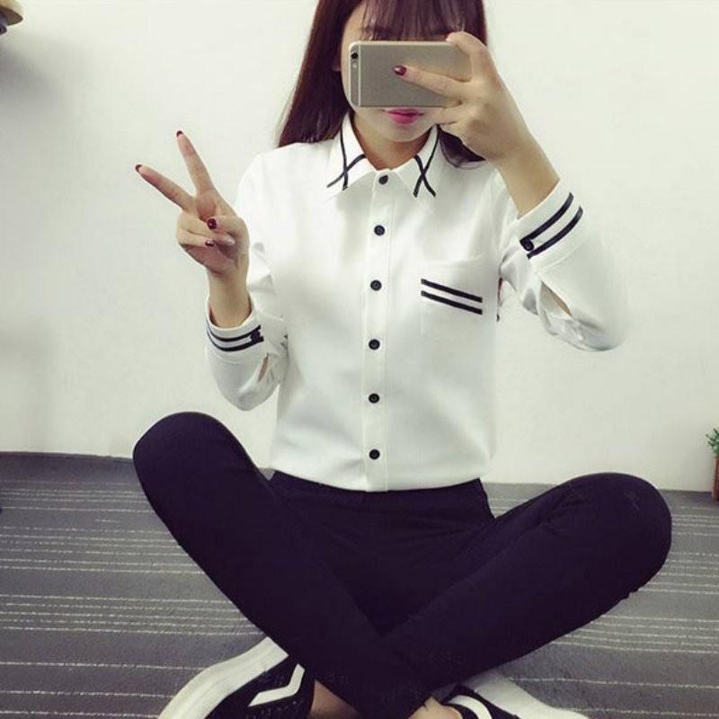 HTB1lThYNXXXXXbxXXXXq6xXFXXXv - Fashion Ladies Office Shirt White Blue Tops Formal