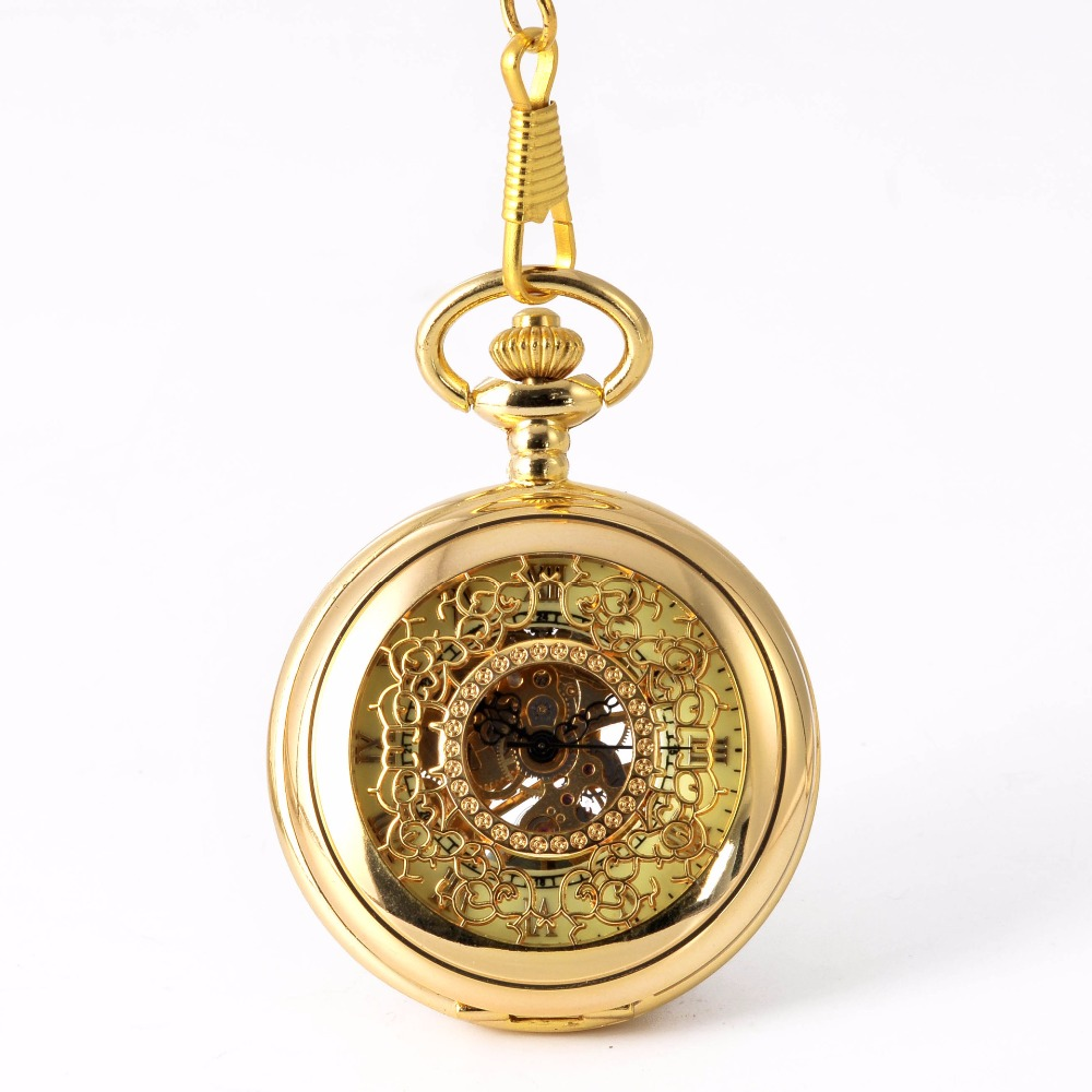Pocket Watch Gold Flower Mechanical Pocket Watch Men Antique Luxury Brand Necklace Pocket & Fob Watches Chain Male Clock