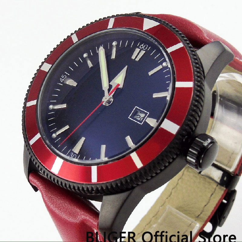 BLIGER Fashion 46MM Black Sterile Dial Red Rotating Bezel Silver Marks Black PVD Case MIYOTA Automatic Movement Men's Watch B128