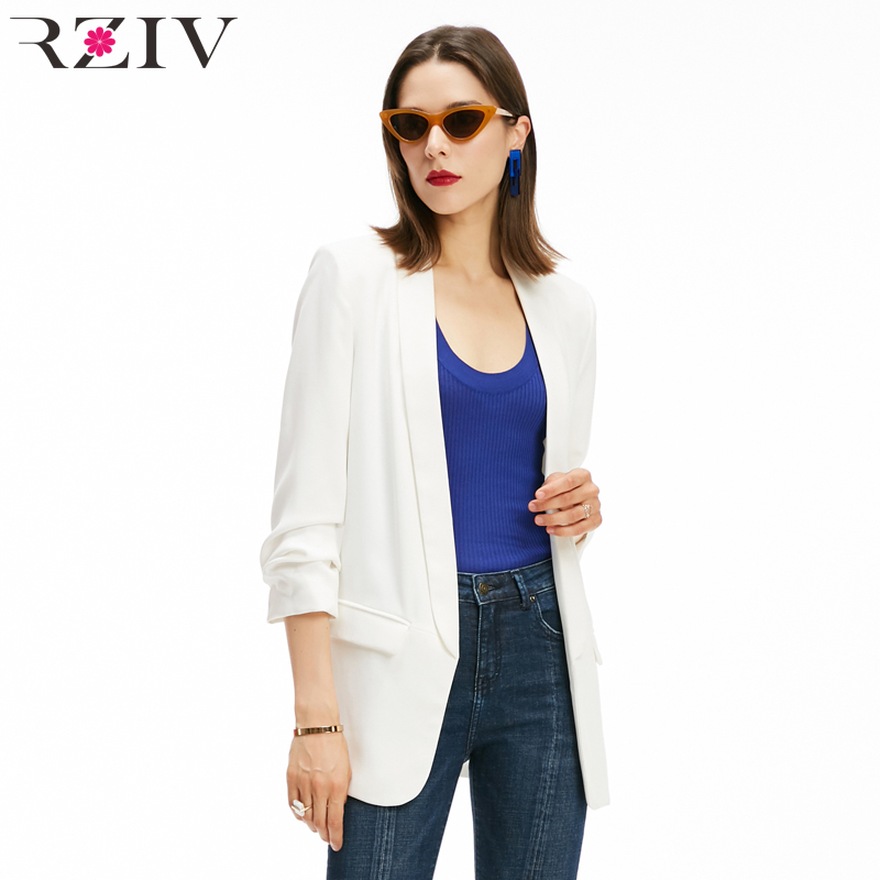 RZIV Autumn Women Blazer Jacket Solid Color OL Style Blazer Feminino Coat Fall Clothing