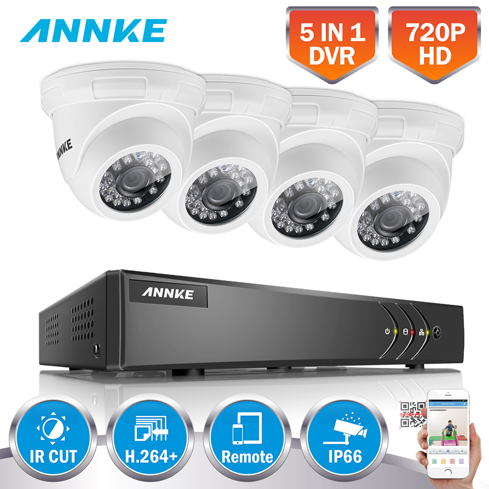 ANNKE 4CH 720P HD CCTV System HDMI 5in1 DVR 4PCS 1MP TVI Smart IR Outdoor Weatherproof Camera Surveillance Video Kit H.264+ цена в Москве и Питере