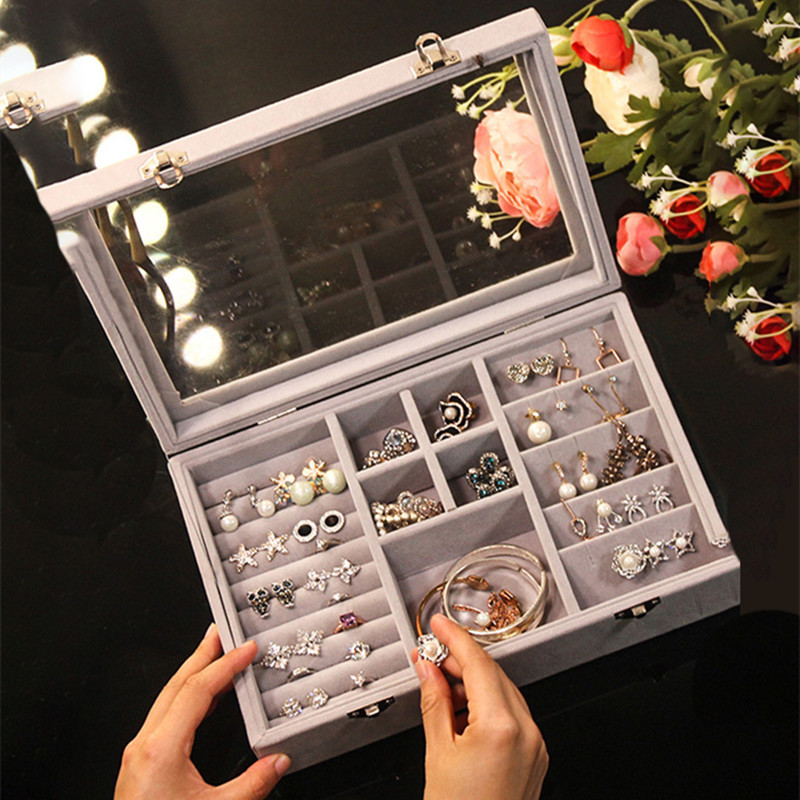 Flannel Jewelry Ring Display Box Transparent Women Travel Earrings Bracelet Carrying Holder Storage Case Accessories Supplies