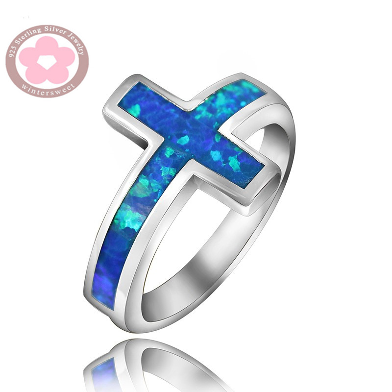 JZ0110 Cross of Jesus Blue Opal Rings for Men & Women Fine Jewelry Unisex Finger Rings Wholesale Hot Sale Fashion Jewelry