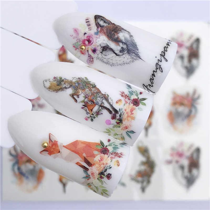 YZWLE naklejka do paznokci artystyczna dekoracja suwak Fox Wolf Animal konstrukcja do kleju woda naklejka lakier do manicure akcesoria polski folia