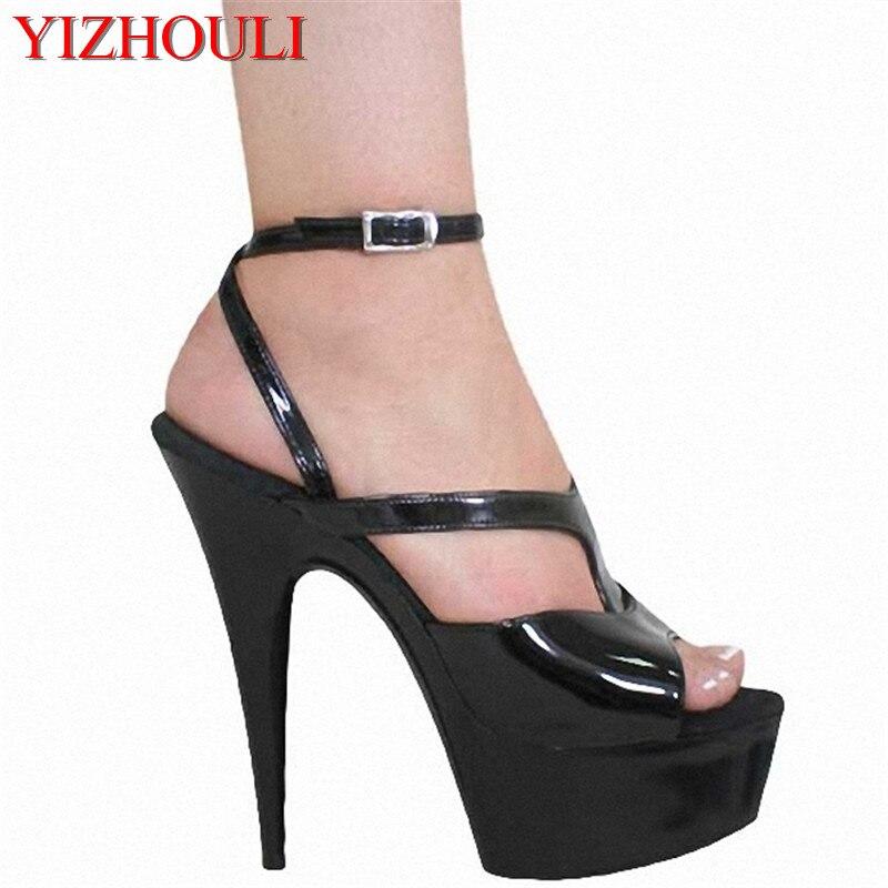 invité de la chaîne la robe classique super talons de 15 cm en sandales,black