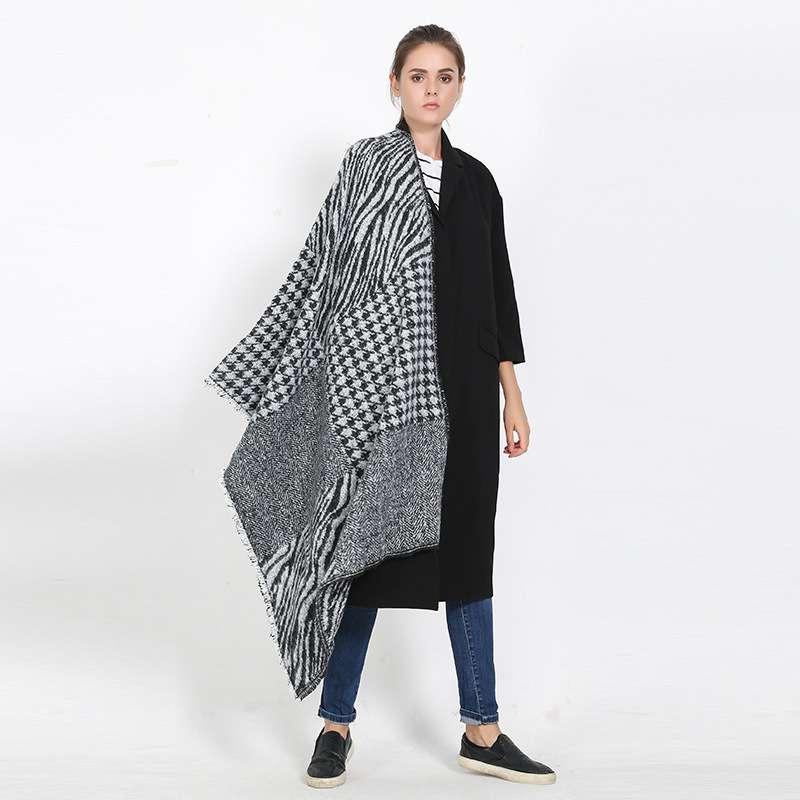 Women font b Tartan b font Foulard Luxury Brand Pattern Echarpe Hiver Femme Houndstooth Blanket Scarf