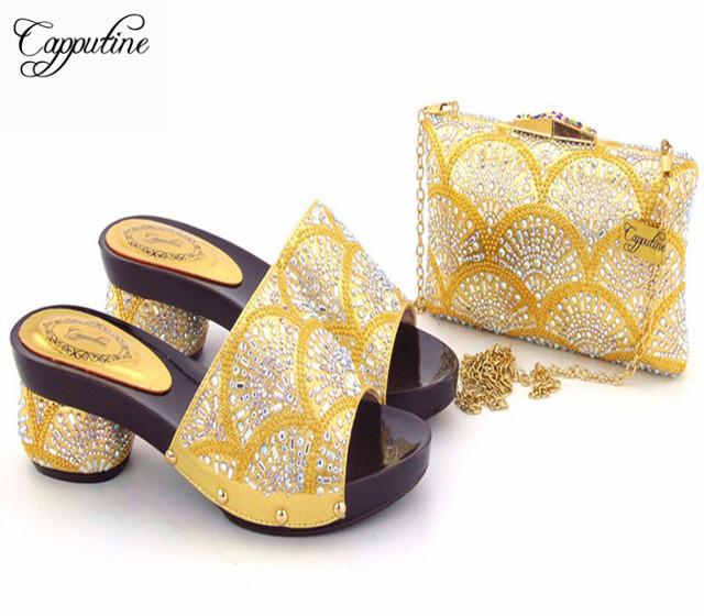 Capputine New Arrival Italian Shoes With Matching Bag Set For Wedding Party  Fashion Women Gold Color Pumps Shoes And Bags Set f9aea23a9301