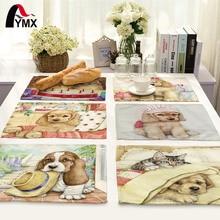 Creative Animal Cute Cartoon Dog Printed Table Napkin For Wedding Set Bowl Dining Mats 42*32cm Kids Home Decoration