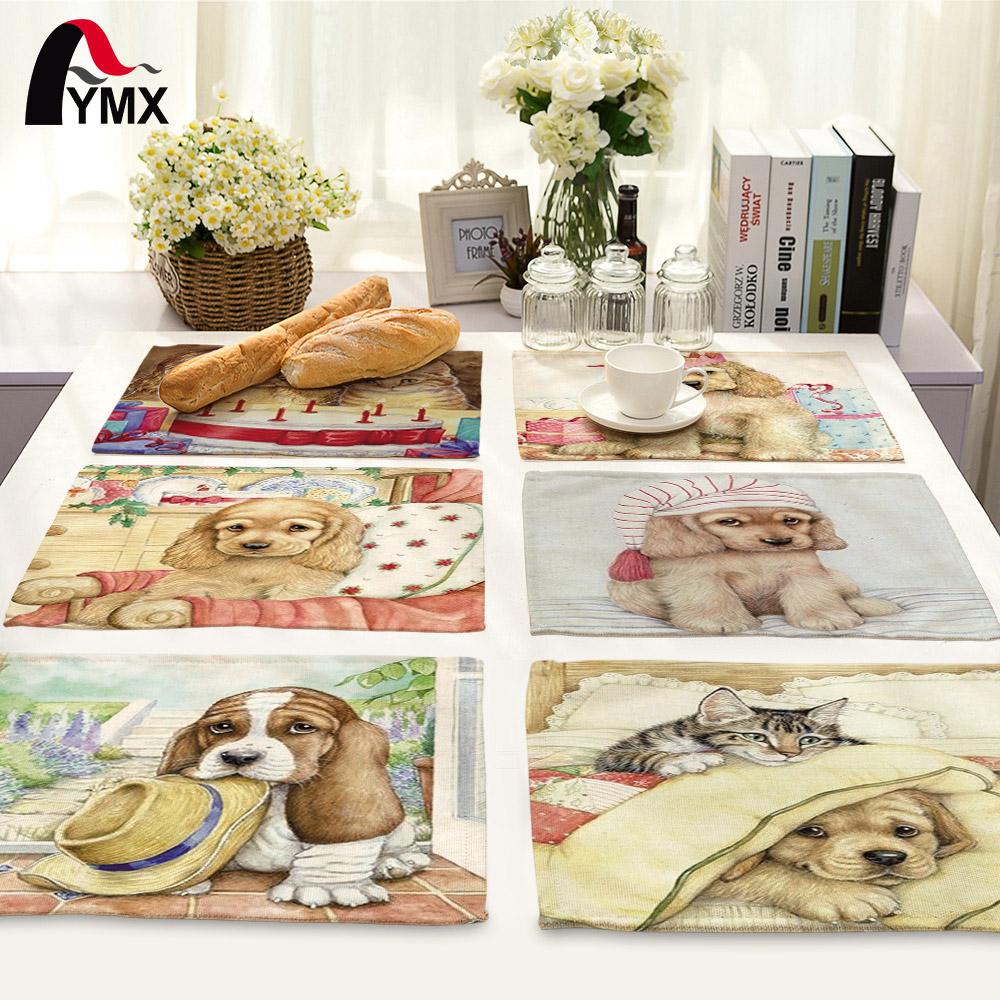 Creative Animal Cute Cartoon Dog Printed Table Napkin For Wedding Set Bowl Dining Mats 42*32cm Kids Table Set Home Decoration