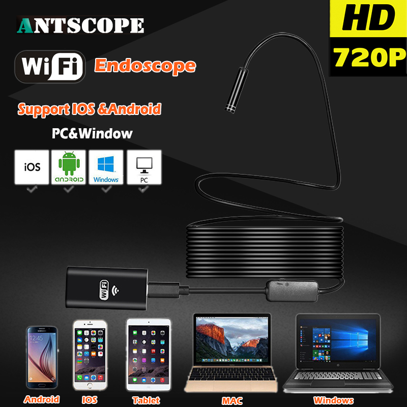 bilder für 8LED Harte Flexible Schlange USB WIFI Endoskop Android Kamera HD720P 8mm OD 2MP Iphone Endoskop Wasserdichte Rohrleitungsinspektionen Kamera