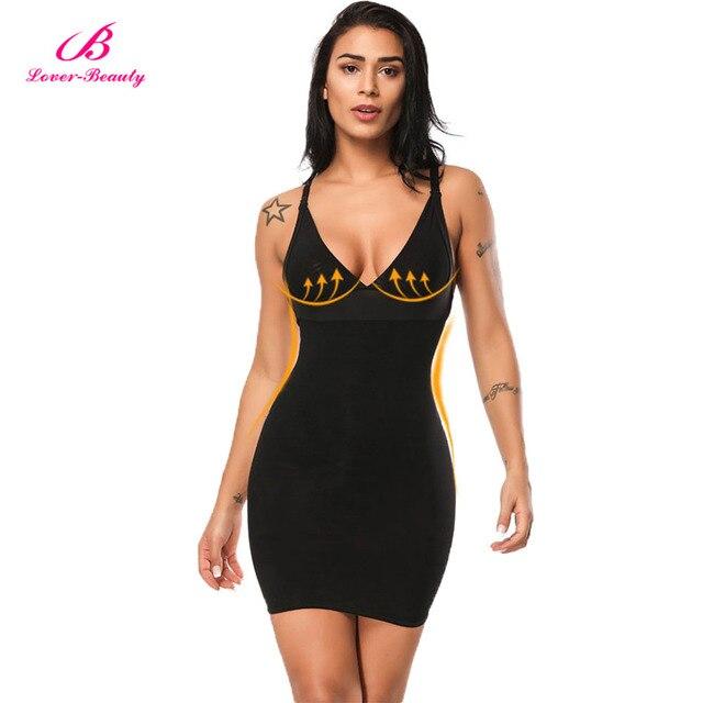 23449838b Amante Beleza Mulheres Deslizamento Vestido Preto Sem Encosto Sob Vestuário  Shapewear Shaper Do Corpo para a Noite De Casamento Noiva UMA