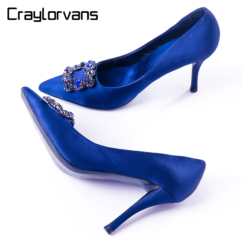 Craylorvans Top Quality Blue Women Wedding Shoes 100mm High Heels Sliver Black  Crystal Silk Women Pumps Pointed Toe Women Shoes new high quality welding mma welder igbt zx7 200 dc inverter welding machine manual electric welding machine