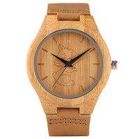 Holz Uhr Schöne Kran Hund Katze Gravur Zifferblatt Frauen Herren Analog Bambus Quarz Armbanduhr Handgemachte Holz Uhr Weihnachtsgeschenk