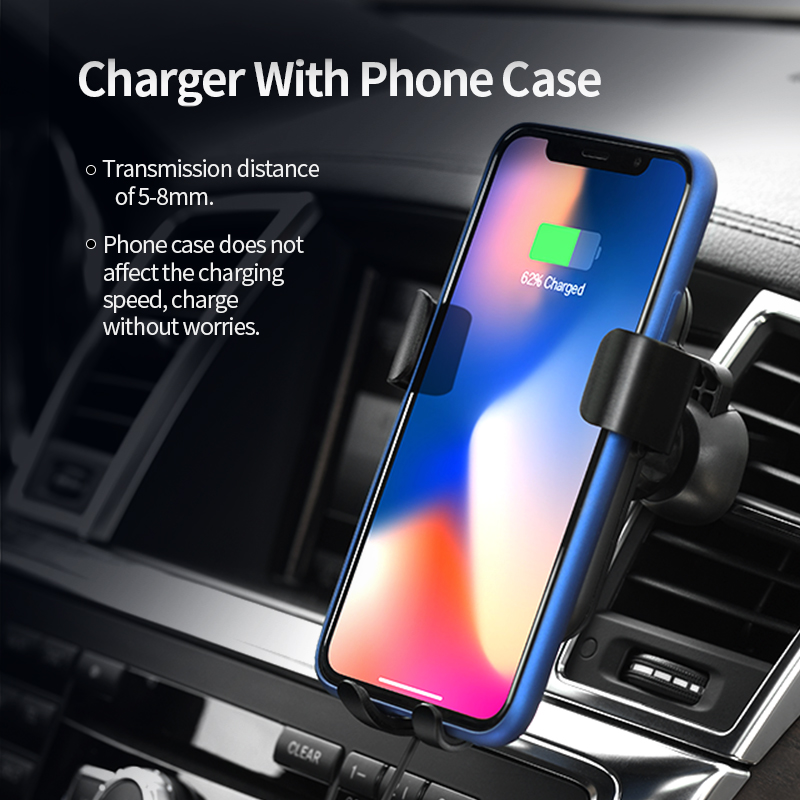 Image 3 - HOCO Car Qi Wireless Charger for iPhone Xs Max XR X 8 Plus Quick Charge Fast Wireless Car Mount Holder For Samsung S9 S8 2018-in Mobile Phone Chargers from Cellphones & Telecommunications