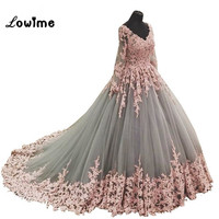 Vintage Arabic Puffy Prom Dresses Pink Applique Silver Evening Dress 2018 V Neck Long Sleeve Party Gown Vestido Longo