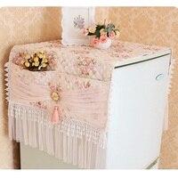 Pastoral Refrigerator Cover Lace Cloth Freezer Dust Cover Fridge Towel Dustproof Cover Organize Pocket Storage Bags Floral Print