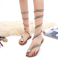 Women Sandals 2017 Fashion Summer Sexy High Heel Sandal Roman Style Gold Fladiator Flats Shose Crystal