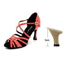 a4199f8e5 Ladingwu Latino Sapatos de Dança de Mulheres New cetim De Seda Preto Salsa  Sapatos de Strass