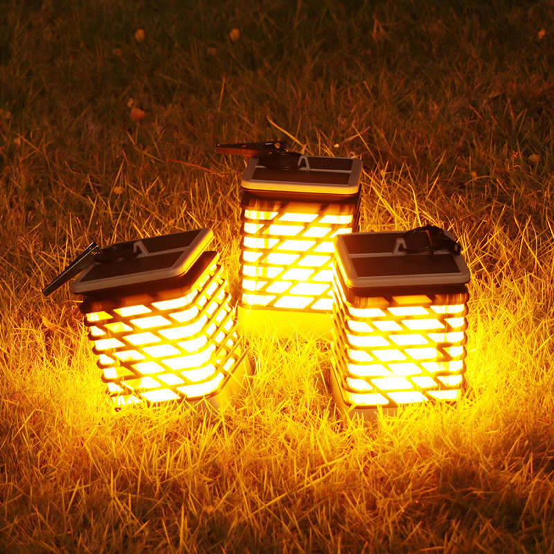 New Solar Light LED Flickering Flame Lamp Fire Effect Portable Outdoor Waterproof Solar Panel Lawn Garden LED Wall Clip Lamps hot 96led solar powered flame flickering wall light vintage lamp outdoor waterfproof garden fence door corridor decor
