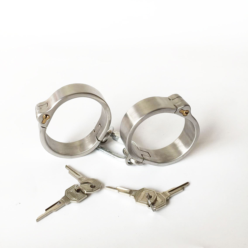 New women/men metal handcuffs for sex,adult sex games BDSM bondage stainless steel handcuffs,slave fetish sex tools for sale adult games sexy latex device sex fetish toys hot sale rubber hanging neck chest tight wrapped tools for women