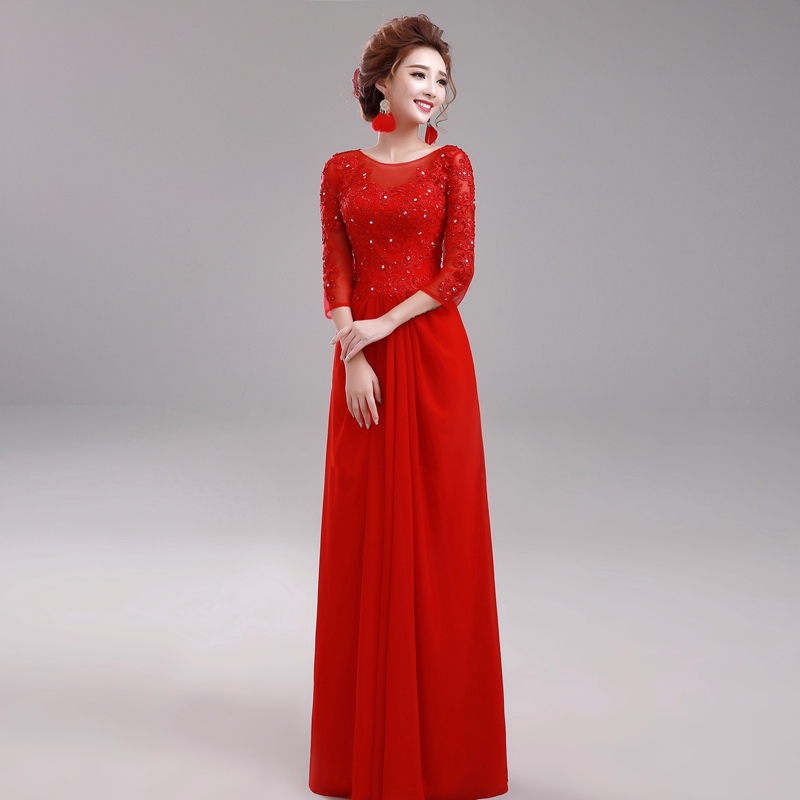 Vestidos largos rojos manga larga