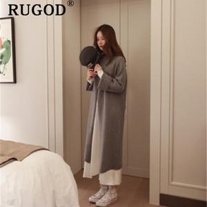 Image 5 - RUGOD Ins new fashion high split women sweater turtleneck Long sleeve warm wintere pullovers female Korean long style streetwear
