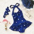 2016 Hot New 1 a 8 años Del Bebé Bikini Niñas Spa Niños de la falda Siameses Traje de Baño Lindo Del Cabrito Trajes de Baño, Además de un diadema