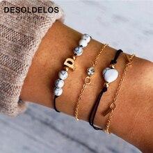 4pcs/1set Punk Bracelet Simple Geometric Beads Knot Metal Chain Bohemian Retro Jewelry Accessories