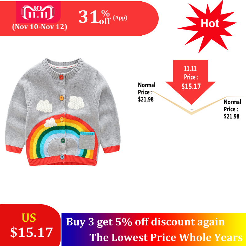 SAILEROAD 2-6Years Rainbow Embroidery Knitted Sweater for Girl Autumn Cardigan for Boys Warm Sweaters for Girls Kids Clothes цена