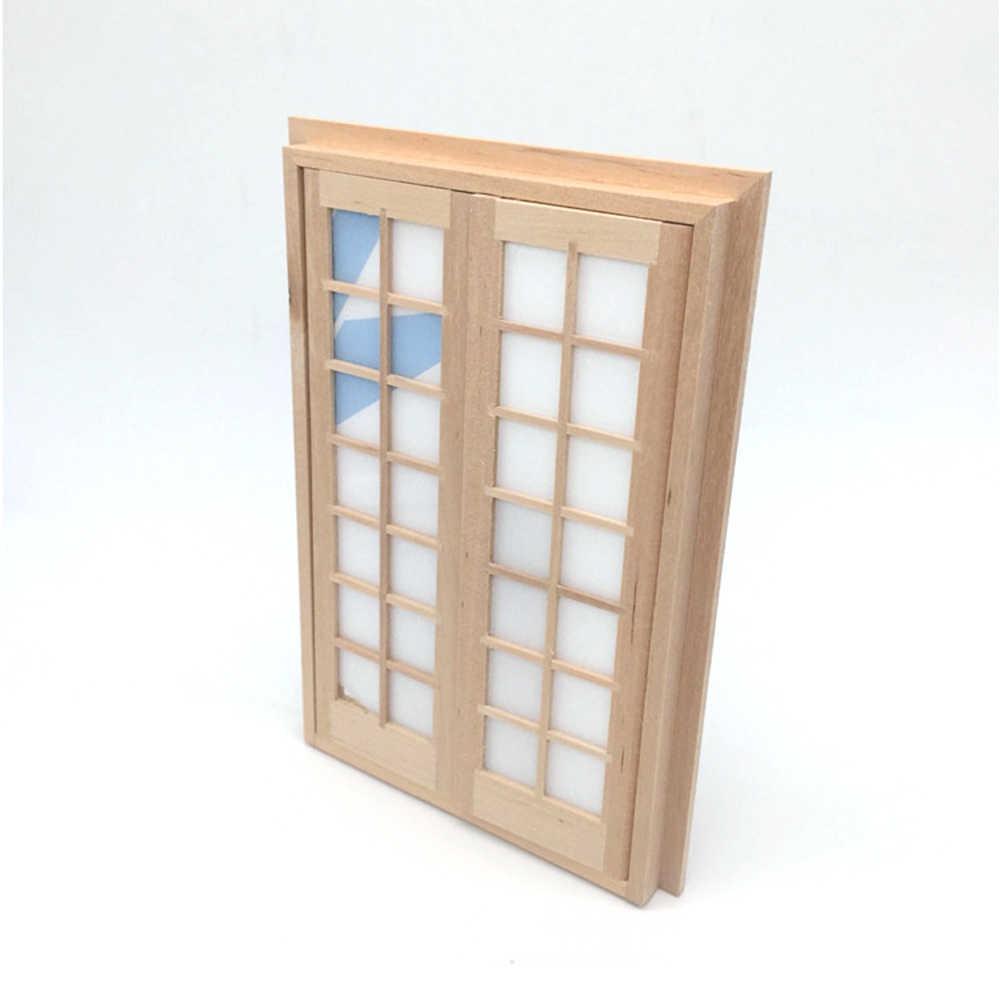 1//12 Dollhouse Mini Wooden DIY 28 Lattices Double Door Furniture Accessories  L$