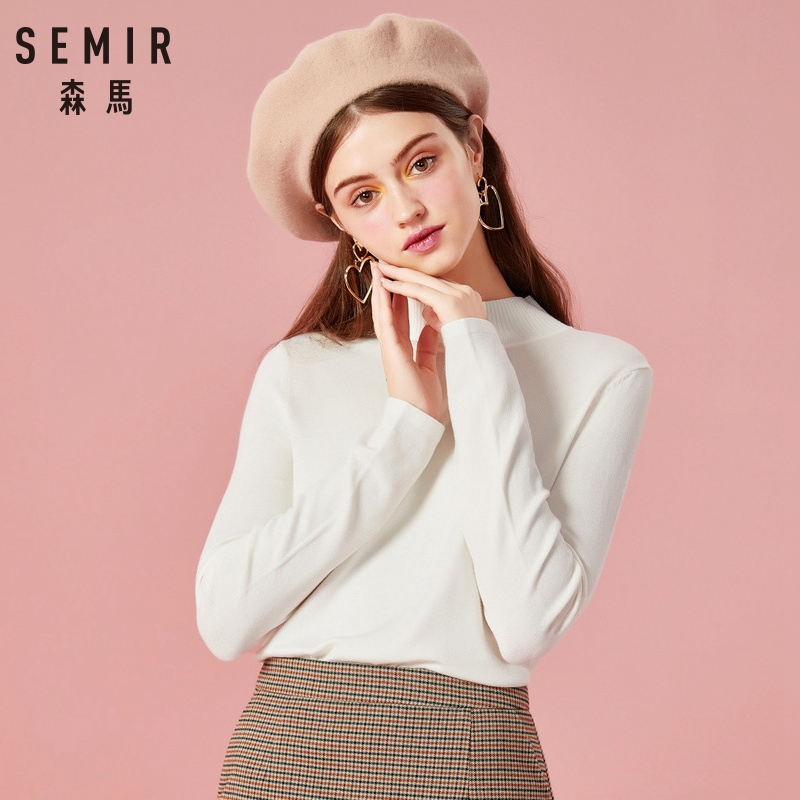 SEMIR Women Sweater 2019 Winter Tops Turtleneck Sweater Women Thin Pullover Jumper Knitted Sweater Pull Femme Clothing