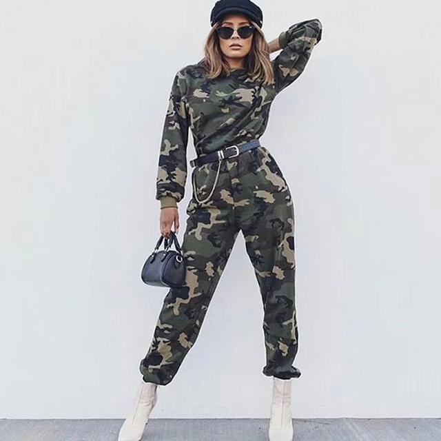 Spring 2019 fashion woman camo pants women cargo high waist pants loose trousers joggers women camouflage sweatpants streetwear 4