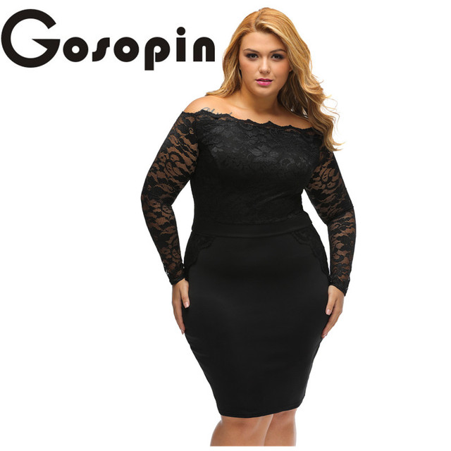cc157182962 Gosopin Big Girl 3XL Casual Dress Autumn Long Sleeve Black Off Shoulder Plus  Lace Dress Women Work Wear Vestido de Festa LC22901