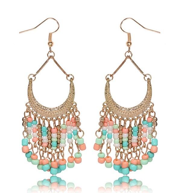 Lucky Beads Tel Dangle Earrings Women Red Royalblue Black White Drop Earring Long Indian Jewelry