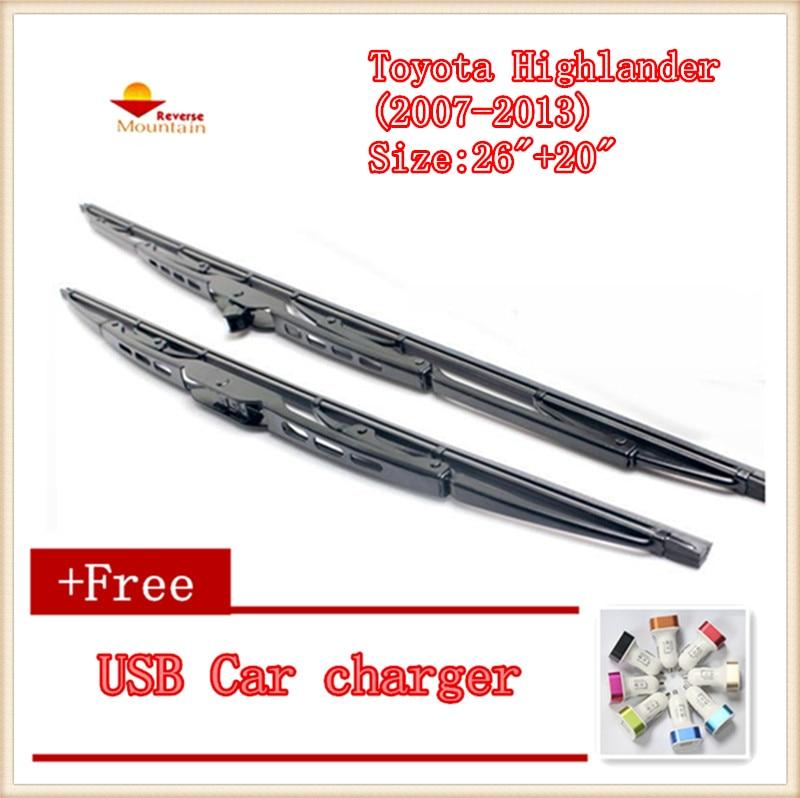 2pcs/lot Car Windscreen Wipers Blades U-type Universal For Toyota Highlander (2007-2013) Size:26+20