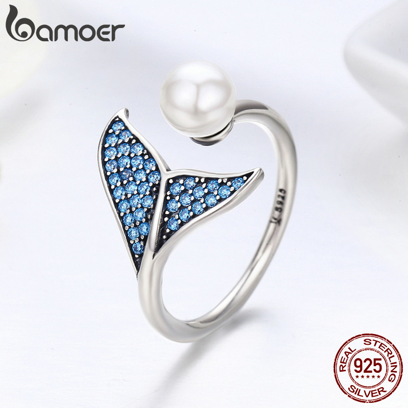 BAMOER Mermaid Fish Tail Shell Pearl Finger Rings For Women Adjustable Open Free Size 925 Sterling Silver Ring GXR286