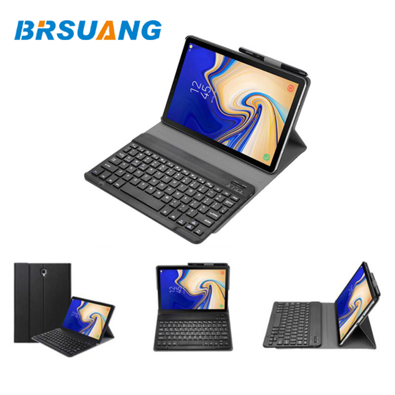 20pcs lot BRSUANG Multifunction PU Leather Smart Wireless Bluetooth Keyboard Case For Samsung Tab A T590