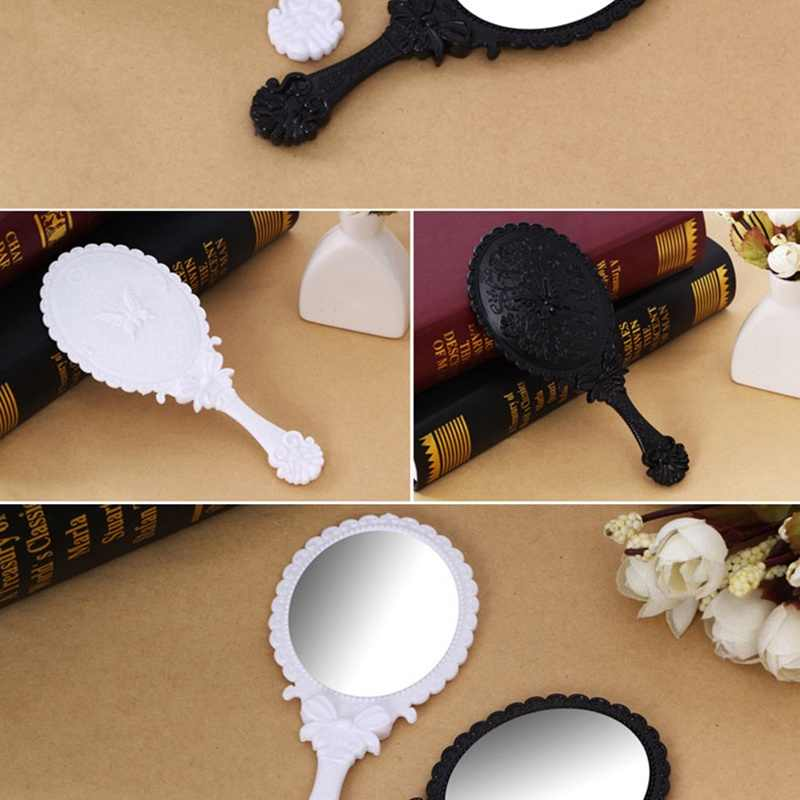 1pc Cute Silver Vintage Ladies Floral Repousse Oval Round Makeup Hand Hold Mirror Princess Lady Makeup Beauty Dresser Gift