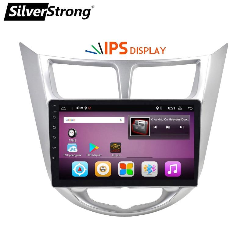 SilverStrong 9 pollici IPS matrix Solaris Android 7.1 Car DVD Per Hyundai Solaris Accent Verna 2011-2016 Radio RDS