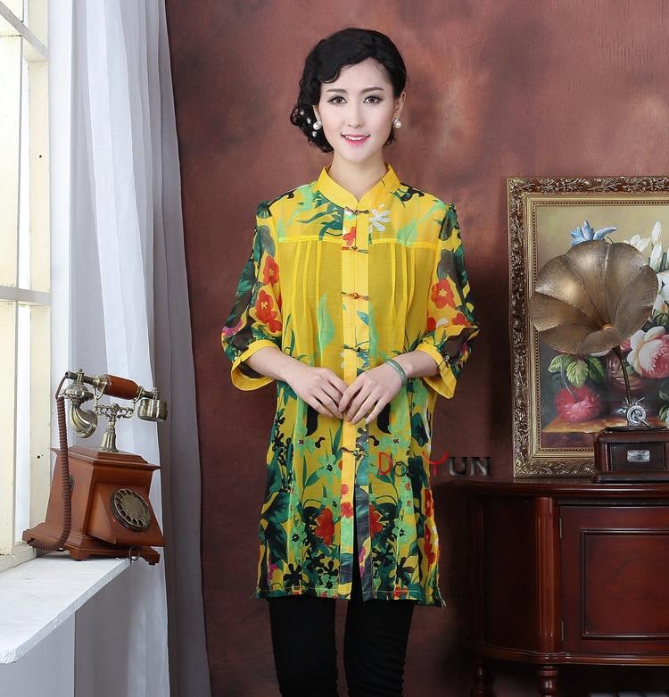 Multi-Yellow Chinese National Style Women Tang Suit Rayon Chiffon Blouses Flower Shirt tops Size XL XXL XXXL 4XL 5XL TM6 женское платье brand new 2015 vestidos 5xl s m l xl xxl xxxl 4xl 5xl