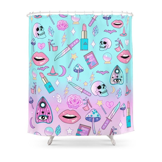 Girly Pastel Goth Witch Pattern Shower Curtain Set Waterproof Fabric Bath For Bathroom With Non